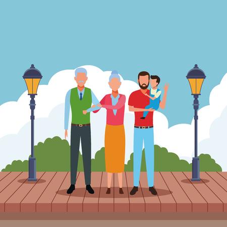 Familia avatar personaje de dibujos animados pareja de ancianos y hombre con un niño en el parque piso de madera ilustración vectorial diseño gráfico