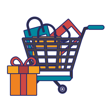Online shopping cart with bags and gift vector illustration graphic design Ilustração
