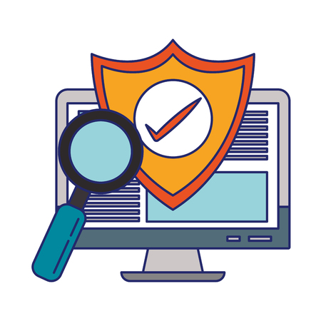 Computer screen internet browsing with security shield vector illustration graphic design