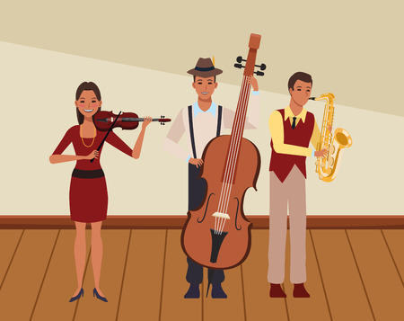 musician playing saxophone bass and violin avatar cartoon character indoor rehearsal room vector illustration graphic design