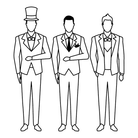 men wearing tuxedo avatar cartoon characters with bow tie, top hat and waistcoat black and white vector illustration graphic design Illusztráció