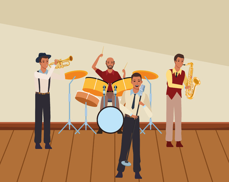 musician playing in a band avatar cartoon character indoor rehearsal room vector illustration graphic design Stock Illustratie