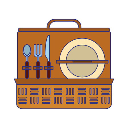Picnic basket with dish and cutlery vector illustration graphic design Illusztráció