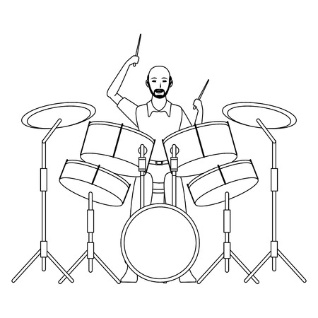 musician playing drums avatar cartoon character black and white vector illustration graphic design Illusztráció