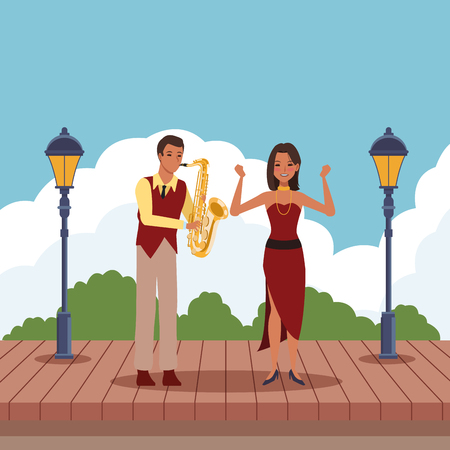 musician playing saxophone and dancer avatar cartoon character in the park vector illustration graphic design
