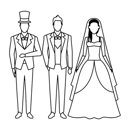 people dressed for wedding avatar cartoon character black and white vector illustration graphic design Stock Illustratie