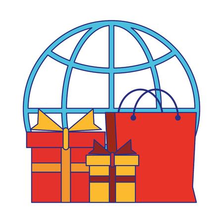 Online shopping and payment symbols vector illustration graphic design Illusztráció