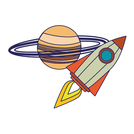 Spaceship flying around saturn cartoon vector illustration graphic design