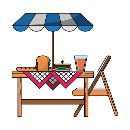 Picnic basket with food and elements cartoon vector illustration graphic design Stock fotó - 123033154