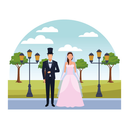 groom and bride avatar cartoon character in the park vector illustration graphic design Illustration