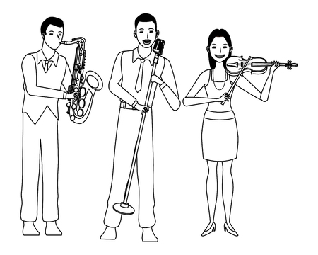 musician playing saxophone violin and singing avatar cartoon character black and white vector illustration graphic design