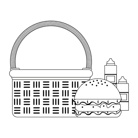 Picnic basket with burger and sauce bottles vector illustration graphic design  イラスト・ベクター素材