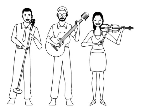 musician playing guitar violin and singing avatar cartoon character black and white vector illustration graphic design Illusztráció