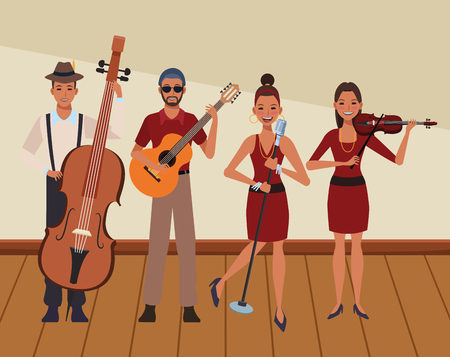 musician playing in a band avatar cartoon character indoor rehearsal room vector illustration graphic design 일러스트