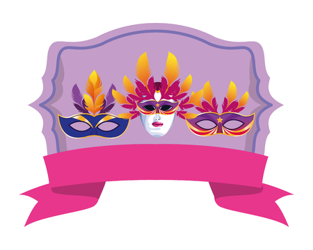 set of masks with feathers icon with ribbon cartoon vector illustration graphic design 向量圖像