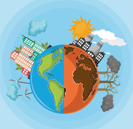 Medio globo desierto con contaminación y medio globo con diseño gráfico de ilustración de vector de dibujos animados icono de energía alternativa Ilustración de vector