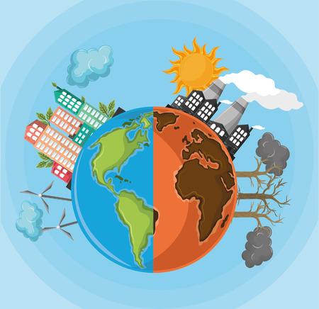 mezzo globo deserto con inquinamento e mezzo globo con icona di energia alternativa fumetto illustrazione vettoriale graphic design Vettoriali