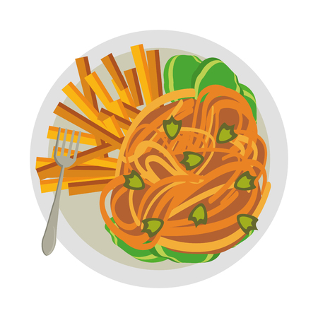 Spaghetti and french fries with fork food vector illustration graphic design Çizim