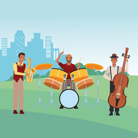 musician playing saxophone drums and bass avatar cartoon character in the park cityscape skyscraper vector illustration graphic design