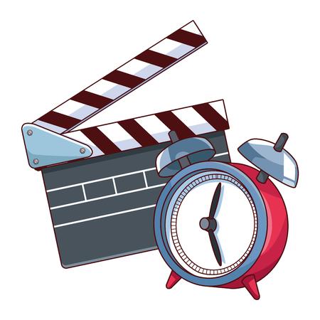 movie clapper board and alarm clock vector illustration graphic design Ilustração