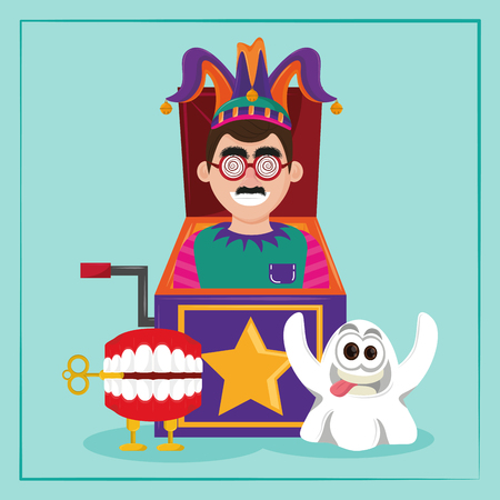 April fools day cartoon clown in surprise box with teeth and ghost vector illustration graphic design
