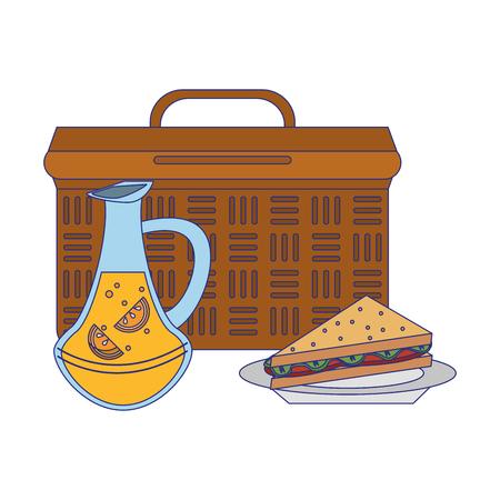 Picnic basket with lemonade and sandwich vector illustration graphic design