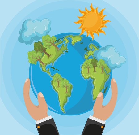 globe with trees and sun icon cartoon vector illustration graphic design