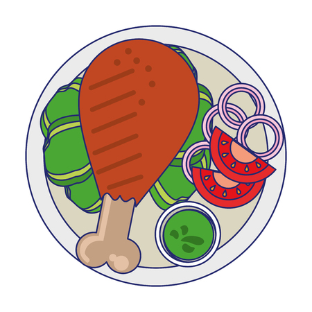 Chicken thigh and sauce with salad on dish cartoon vector illustration graphic design