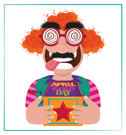 April fools day cartoon clown with surprise box vector illustration graphic design