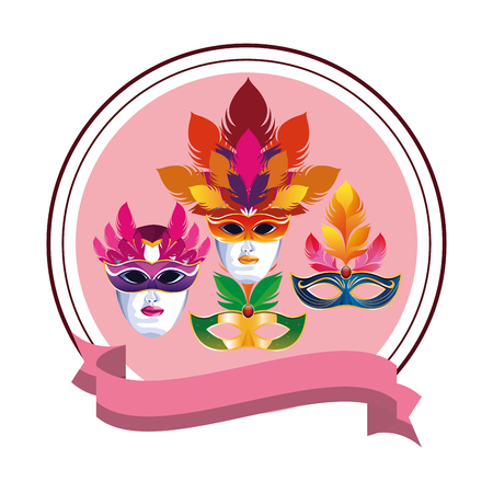 set of masks with feathers with ribbon round icon cartoon vector illustration graphic design 向量圖像