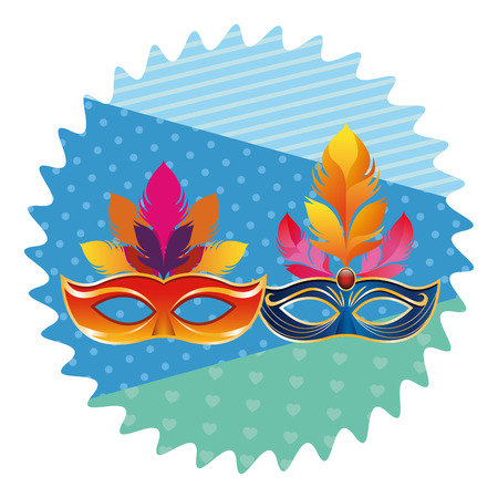 masks with feathers icon cartoon pop art round icon vector illustration graphic design