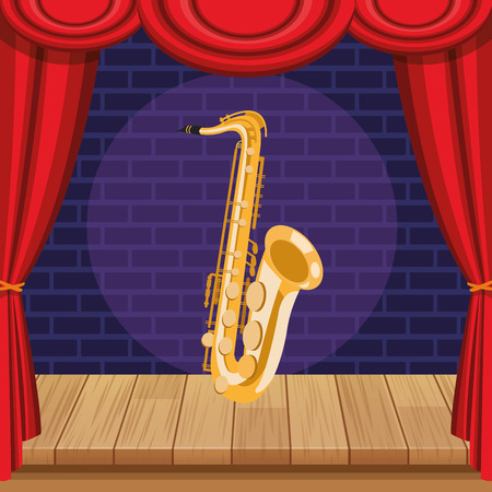 saxophone icon cartoon isolated on stage vector illustration graphic design