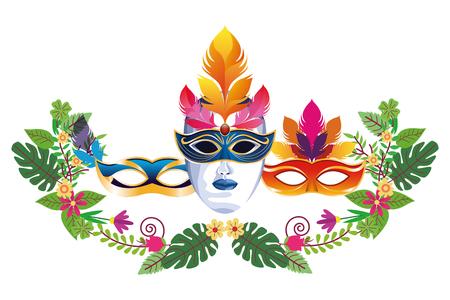 set of masks with feathers floral arrangement icon cartoon vector illustration graphic design Stock Illustratie