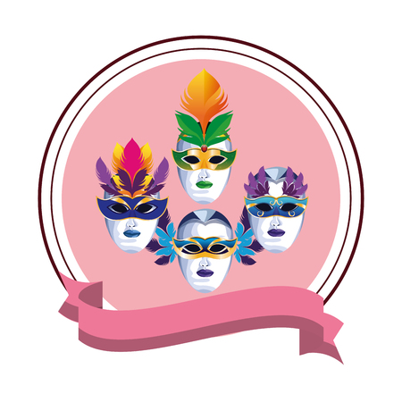 set of masks with feathers with ribbon round icon cartoon vector illustration graphic design Stock Illustratie