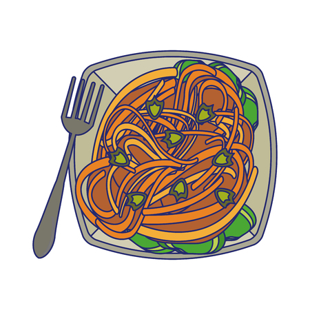 Spaghuetti on dish with fork food vector illustration graphic design Иллюстрация