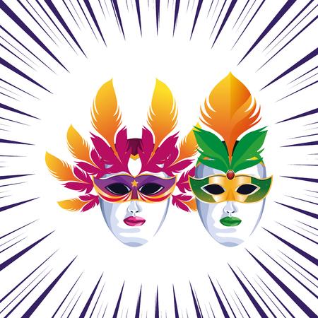 masks with feathers icon cartoon pop art background vector illustration graphic design Stock Illustratie