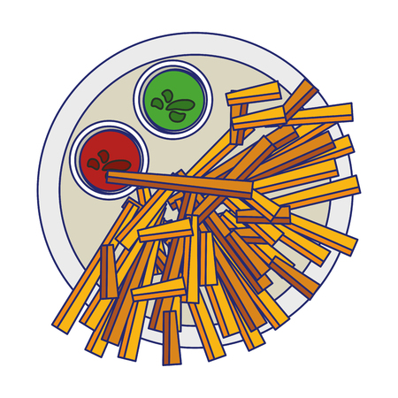 French fries with sauces on dish fast food vector illustration graphic design
