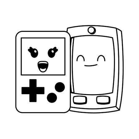 smartphone and tetris cute kawaii cartoon vector illustration graphic design