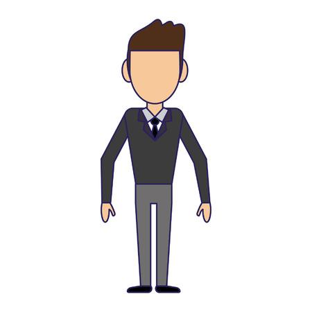 Man with elegant clothes cartoon vector illustration graphic design Illustration