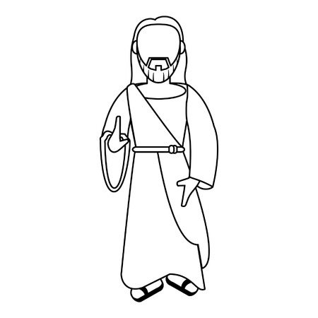 jesuschrist man with hand symbol cartoon vector illustration graphic design