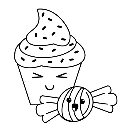 candy and desserts kawaii cupcake and caramel cartoon vector illustration graphic design  イラスト・ベクター素材