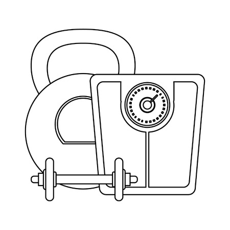 Healthy lifestyle and weight loss dumbbell with kettlebell and balance vector illustration graphic design