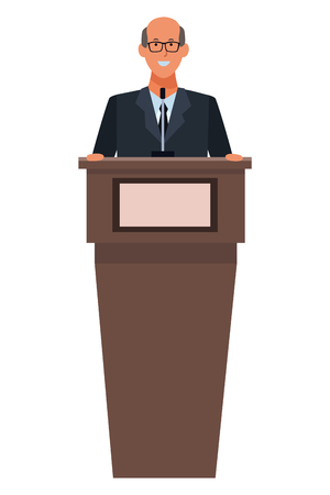 man in a podium making a speech wearing glasses vector illustration graphic design Stock Illustratie