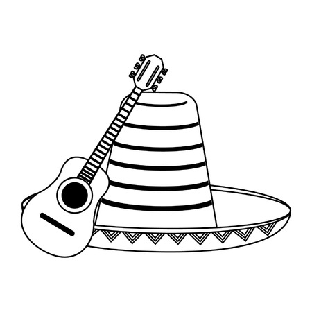 Acoustic guitar and mexican hat vector illustration graphic design Vectores