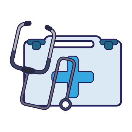 Medical healthcare supplies first aids suitcase and stethoscope vector illustration graphic design Ilustração