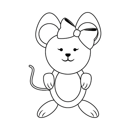 Mouse female with bow cute animal cartoon vector illustration graphic design