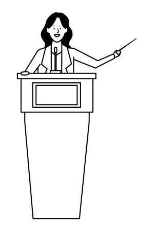 woman in a podium making a speech with a wand black and white vector illustration graphic design Ilustração