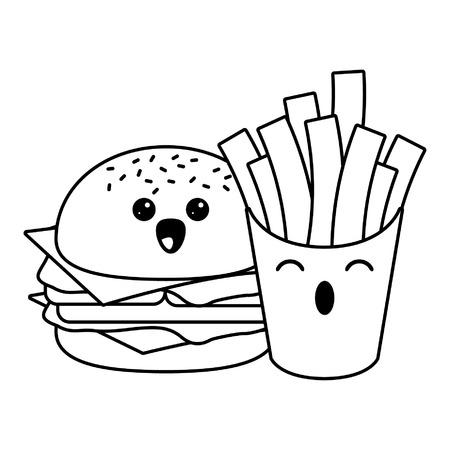 Fast food kawaii hamburger and french fries cartoon vector illustration graphic design  イラスト・ベクター素材