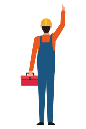 Construction worker with toolbox backward vector illustration graphic design