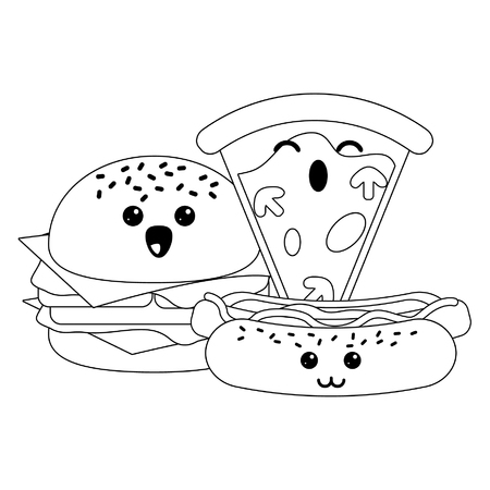 Fast food kawaii burger and hotdog with pizza cartoon vector illustration graphic design